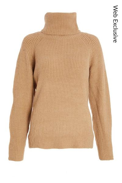 Stone Knitted Roll Neck Jumper